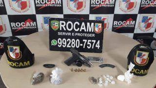 Policiais da Rocam detêm dupla suspeita de tráfico e porte ilegal
