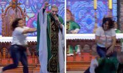 Mulher que empurrou padre Marcelo Rossi do palco é técnica em enfermagem