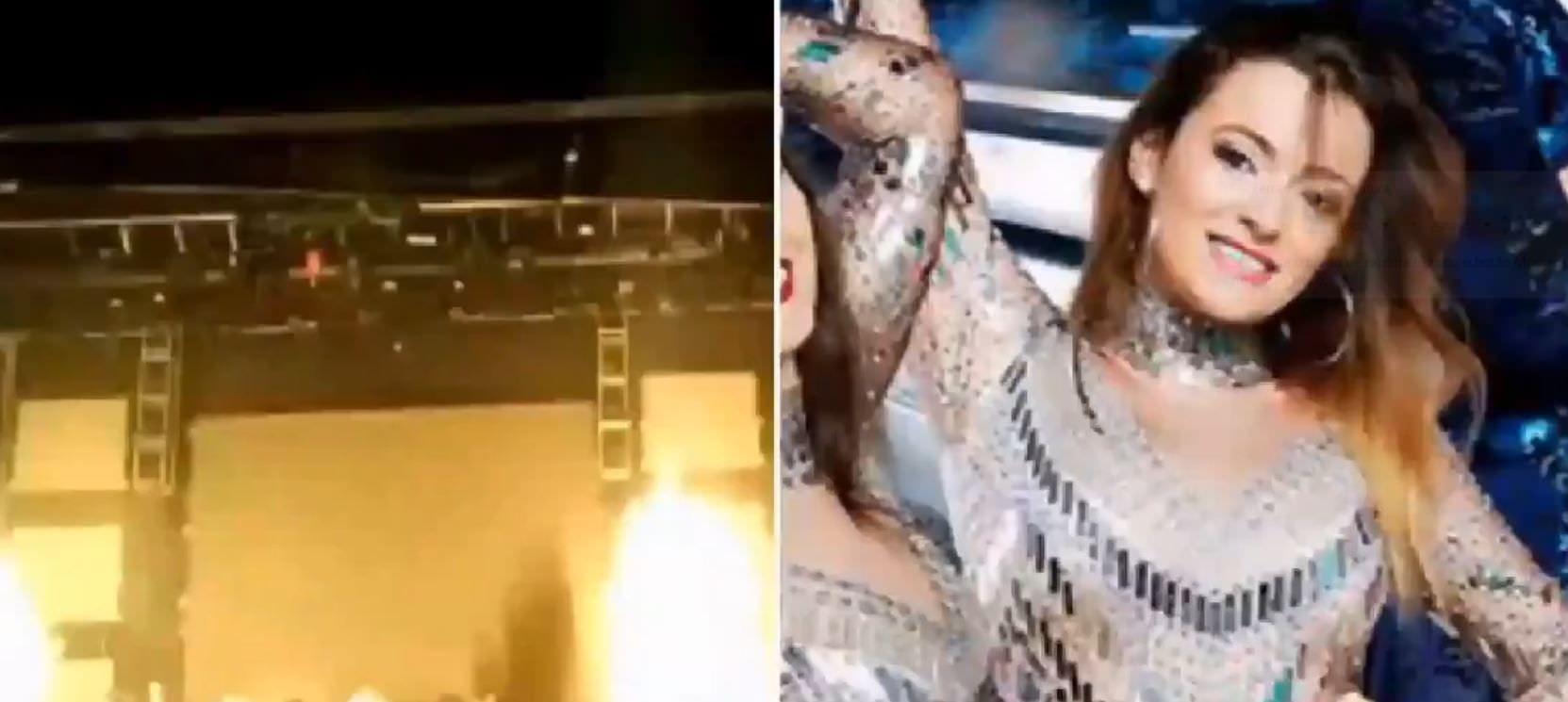Cantora morre ao ser atingida por fogos de artifícios durante show; vídeo