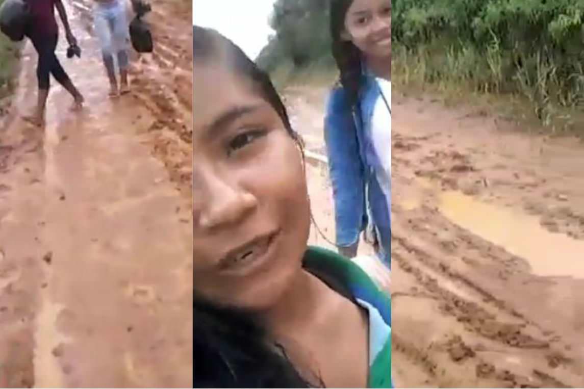 Em meio a lama, aluna cobra que prefeito de Tefé olhe por moradores