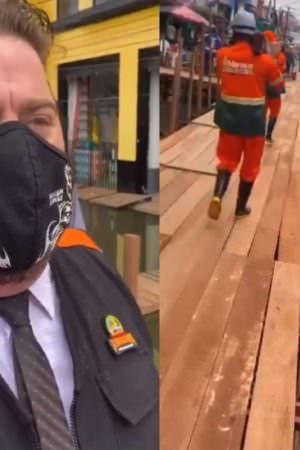 Vereador Alemão grava vídeo pulando nas marombas do Centro para testar resistência