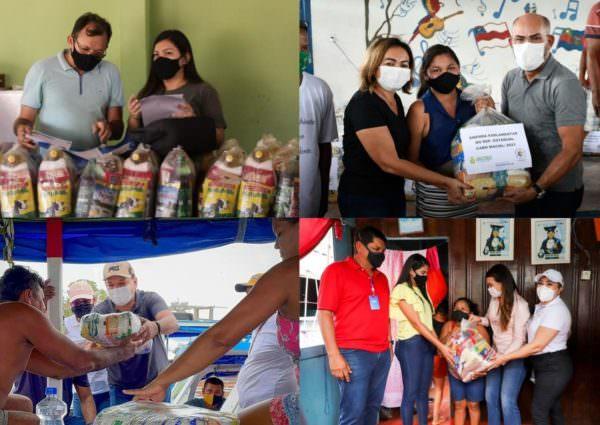 De olho nas eleições, políticos do AM doam cestas básicas como moeda de troca
