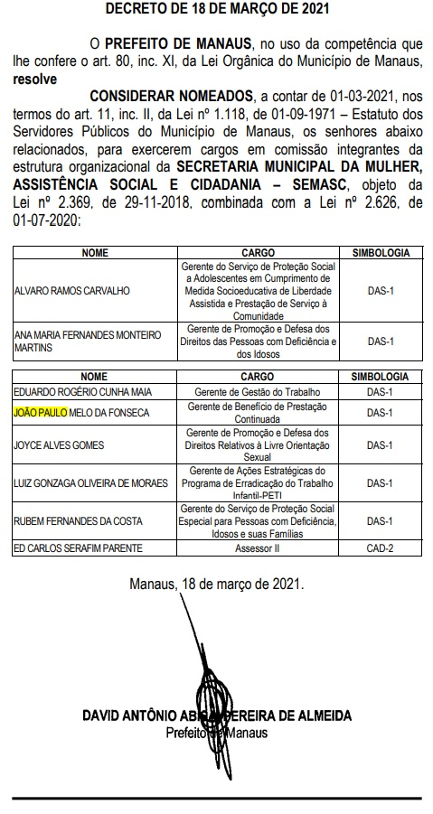 Filho de secretário de David Almeida ganha cargo na Semasc na prefeitura de Manaus