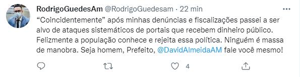 Rodrigo Guedes diz que Secretários de David Almeida estão pagando portais e blogs com dinheiro público para inventarem mentiras a seu respeito