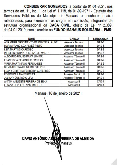 David Almeida presenteia com cargo na prefeitura prima da falecida esposa e o namorado dela