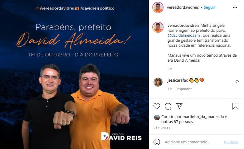 """David Reis esquece as obrigações de vereador que é fiscalizar e parabeniza David Almeida pela """"Grande gestão"""""""